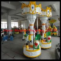 Buy cheap 3seats  carousel merry go round mini kids ride electric fiberglass amusement park carousel horses from wholesalers