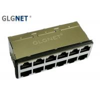 China 30 U Gold Plating 10G RJ45 Connector 2 x 6 Port With Surge Protection EMI Gasket on sale
