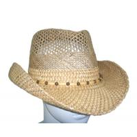 Buy cheap Summer Seagrass Fashion Womens Straw Cowboy Hats With Wooden Beads For Party, Beach from wholesalers