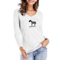 Buy cheap V Neck Long Sleeve Women's Printed Tee Shirts 0.2kg PCS Gauge Cotton Blend from wholesalers