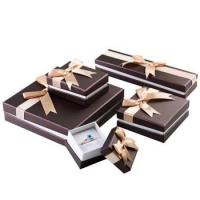 Buy cheap Stylish Design Cardboard Jewelry Gift Boxes With Bow Velvet Foam Insert from wholesalers
