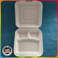 "Buy cheap 8"" disposable three compartments bagasse take away clamshell packaging box from wholesalers"