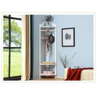 White Tall Corner Wood Display Rack Unit  /  Shelves Three Hangers
