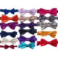 Buy cheap polyester silk Men solid plain bow tie OEM logo Business dress bow tie spot wholesale double-layer  multicolor from wholesalers