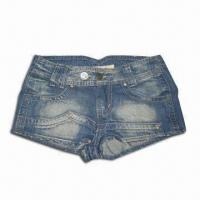 Buy cheap Ladies' Short Jeans, Made of Cotton, with Brass Button and Rivet from wholesalers