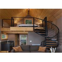 Buy cheap Indoor Carbon Steel Spiral Staircase Wood Treads Low Maintenance Cost from wholesalers