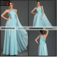 Buy cheap SH704 Fasion Style Elegant A-line Off the shoulder Light Blue Chiffon Floor Lenght Pleat Gown Evening Dresses China from wholesalers