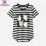 Buy cheap Wholesale Custom Women Modal Yarn Dyed Stripe Short Sleeve T-Shirt from wholesalers