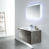 Buy cheap Wood And Dark Grey Freestanding Bathroom Vanity And Mirror With Light from wholesalers