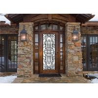 Buy cheap scroll work  Filled Wrought Iron Glass Doors 22*64 inch Size Single Door  maintenance-free from wholesalers