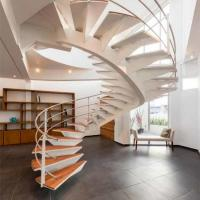 Buy cheap Unique design Modern Curved special vertical rod railing arc timer wood stair case from wholesalers