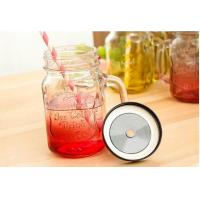 Buy cheap 500ml Mason Storage Glass Jar Container With Iron Lid Straw Multi Color from wholesalers