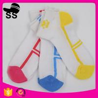 Buy cheap Cotton Apparel White Breathable Sporty Cheapest Logo Printed On Foot Women Girls Bow Socks Terry-loop Hosiery from wholesalers