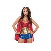 Buy cheap Star Spangled  Custom Cosplay Costumes Sexy Women Hero  Red Gold Blue from wholesalers
