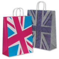 Buy cheap Natural157 Gram Art Paper Gift Bags / Carrier Bags For Cloth With Pp Rope Uv Coatiing product