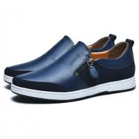 Height Increasing 6 CM Blue Mens Leather Office Shoes With Zipper White Rubber Sole