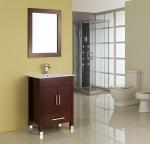Buy cheap MDF / Solid Wood Board Walnut Single Sink Vanity Cupboard 15mm Door Thickness from wholesalers