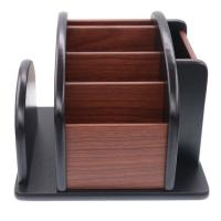 6 Compartment Wood Desk Organizer , Rotating Office Supply Organizer