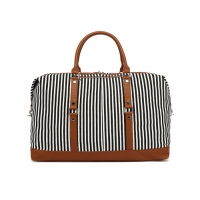 Buy cheap Blue White Striped Women Canvas Travel Duffle Bag from wholesalers