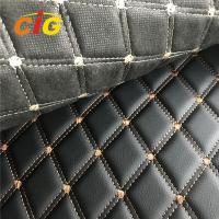Car Seat Car Floor Embroidery PVC leather with Black Foam and Black Non-woven