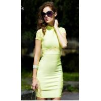 Buy cheap 2014 new hot selling high quality neon lime green knee-length lace bodycon pencil dress from wholesalers