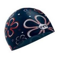 Buy cheap customized personalized waterproof flowered Non-toxic silicone swimming cap for seniors from wholesalers