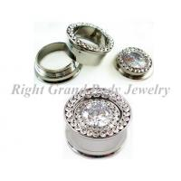 Buy cheap Multi Stone Ear Flesh Tunnels With Double Flared And One Big CZ In Center from wholesalers
