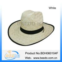 Buy cheap White natural grass cowboy straw hat with wide brim from wholesalers