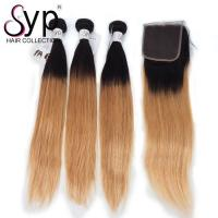 Buy cheap Double Drawn Full Cuticle Aligned 2T Two Tone 1B/27 Color Ombre Straight Hair from wholesalers