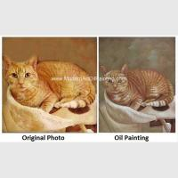 Buy cheap Canvas Cat Portrait Oil Painting Turn Your Photo Into A Painting Hand - Painted With Texture from wholesalers
