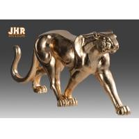 Buy cheap 130cm Leopard Sculpture Decor With Gold Leaf Finish Polyresin Animal Statue from wholesalers