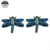 Buy cheap 3D Fashionable Embroidered Bird Patches , Handmade Blue Dragonfly Iron On Applique from wholesalers