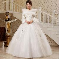 Buy cheap High Neck Princess Diamond White Cotton Wedding Dresses with Invisible Zipper from wholesalers