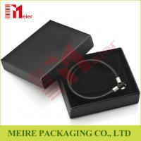 Buy cheap Luxury glossy black Bracelet small cardboard jewelry boxes wholesale with black pouch for man from wholesalers