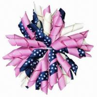 Buy cheap Grosgrain Curly Hair Ornament for Pretty Women's, Girl's and Baby's, Customized Colors are Accepted from wholesalers