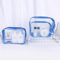 Buy cheap Personalized PVC Cosmetic Bag , Blue Clear Plastic Cosmetic Zipper Bags from wholesalers