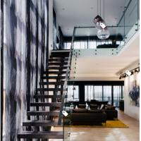Buy cheap European classic stair black wood steel staircase with patch fitting glass railing product