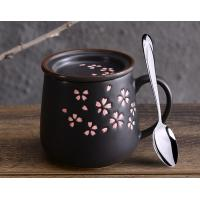 Buy cheap 400ml Black Hot Drink Ceramic Mugs With Flower Painting 400g OEM Available from wholesalers