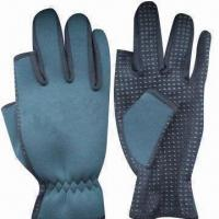 Buy cheap 2 to 3mm neoprene waterproof fishing gloves, customized sizes and colors are accepted product