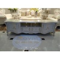 Buy cheap 2000mm Classic French Furniture White TV Cabinet Beautiful Rose Carve Pattern from wholesalers