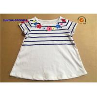 Buy cheap Floral Screen Print Baby Short Sleeve Shirt Crew Neck Childrens White T Shirts from wholesalers