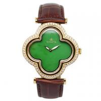 Buy cheap Flower Shape Jade Watch Stainless Steel Case With Diamond On Bezel from wholesalers