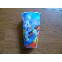 China 350 ml cartoon customized color flip lenticular printing coffee 3d lenticular drink plastic cup with straw on sale