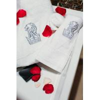 Buy cheap 100% cotton white hotel towel set with embroidery logo from wholesalers
