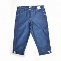China Women's short jeans, made of cotton and polyester on sale