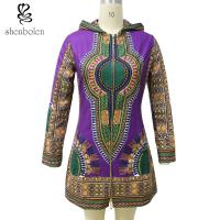 Buy cheap Zipper Front African Ladies Jackets With Hoodie Long Sleeve Wax Printed from wholesalers