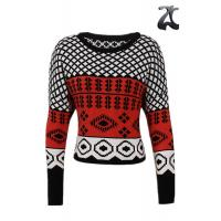 Long Sleeve Women's Pullover Sweater Crew Neck With Chunky Jacquard Knitting