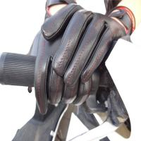 Buy cheap Full Fingers Motorbike Leather Driving Gloves With Knitted Fabric Cuff from wholesalers