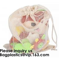 Buy cheap Cotton Packing Bags For Fruit & Vegetables, Organic Cotton Mesh Bags, Drawstring from wholesalers