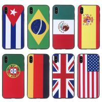 Buy cheap Top selling UK Germany USA Brazil Spain international flags pattern custom logo cell phone case for iphone 8 from wholesalers